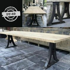 This industrial design table has old cast iron legs as a base and an old tabletop of elm. Please take a look at our website for more tables, pictures and info