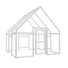 PVC Kids Playhouse - Large - but I can see this as a catio! Pvc Playhouse, Kids Playhouse Plans, Childrens Playhouse, Girls Playhouse, Pvc Pipe Crafts, Pvc Pipe Projects, Pvc Fort, Pvc Greenhouse, Pvc Furniture