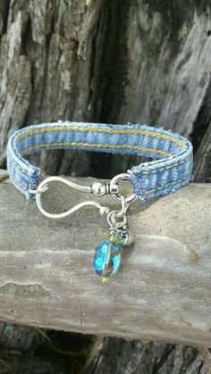 Denim Bracelet with Large Hook Closure and Charms - Bracelets - Jewelry Textile Jewelry, Fabric Jewelry, Wire Jewelry, Jewelry Crafts, Jewelry Art, Beaded Jewelry, Jewelry Design, Jewelry Armoire, Jewellery
