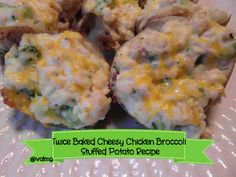 Twice Baked Cheesy Chicken Broccoli Stuffed #Potato #recipe