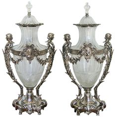 Magnificent Pair of Baccarat Crystal and Silvered Bronze Mounted Urns and Covers