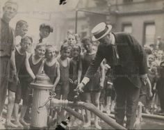 "Mayor of New York, John Hylan, 1921.  """"It was his great heart that ordered the streets closed so that children could have a safe place in which to play, and it was his heart that ordered the policemen and firemen in summer to give the children baths from fire hydrants so that they might keep cool."""