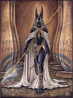 Anubis is an Egyption god of funeral rites and the embalming process he also looked after the dead.