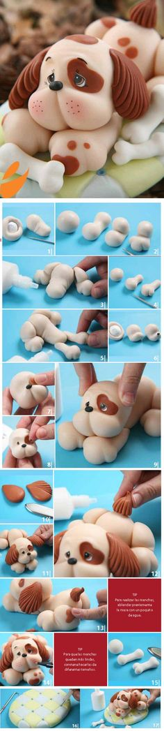 DIY Cute Clay Sleepy Puppy -sure this can be done out of fondant