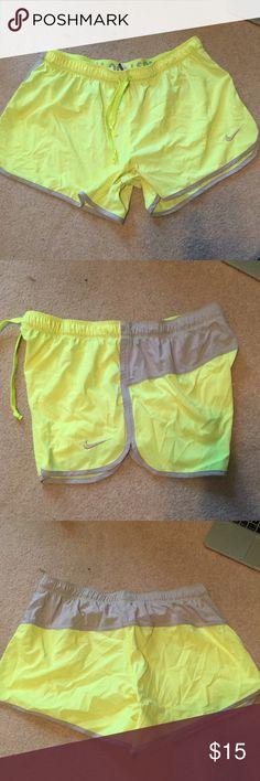 Nike Dry Fit Running Shorts - Neon Yellow - L Nike Dri-Fit Running Shorts - Neon yellow with gray accents. Size L. Nike Shorts