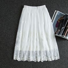 New Adult Women Lace Skirts Princess Midi Tulle Skirt Length 70cm Casual Skirts #Unbranded #Fashion #Casual