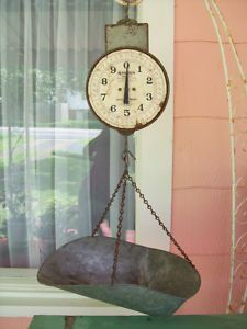 View Item: Vintage Grocery Store Hanson Hanging Scale Fruit Vegetables  Shabby Industrial