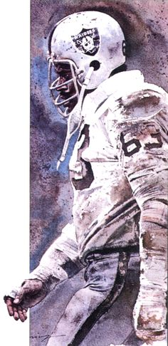 Oakland Raiders Gene Upshaw painted by Merv Corning. Upshaw played in Super Bowls in the 1960s, '70s, and '80s.