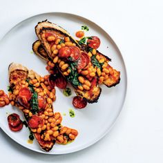 Baked beans on toast with spicy chorizo and puréed coriander Baked Beans On Toast, Ciabatta, Chorizo, Coriander, Tandoori Chicken, Baking Recipes, Crisp, Spicy, Meals