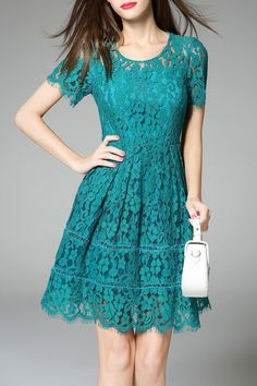 green fit and flare lace dress