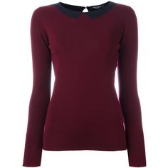 Roberto Collina collar intarsia jumper ($223) ❤ liked on Polyvore featuring tops, sweaters, red, red jumper, purple sweater, roberto collina, roberto collina sweater and merino wool sweater