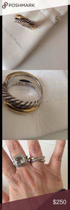 David yurman ring Authentic size 6.... has been worn....nice heavy ring....18k and silver.....crossover collection...price is firm!!! David Yurman Jewelry Rings