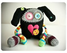 The Lady Bug Love Creature by rawrisiloveyou on Etsy. Made with found materials. Felt Monster, Monster Toys, Lady Bug, Softies, Plushies, Zombie Dolls, Sock Animals, Clay Animals, Ugly Dolls