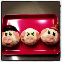 Three little pigs rice balls