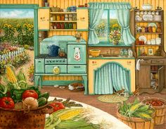 Global Gallery 'Canning Day' by Janet Kruskamp Painting Print on Wrapped Canvas Painting Prints, Art Prints, Framed Artwork, Wall Art, Arte Country, Kitchen Art, 1920s Kitchen, Vintage Kitchen, Happy Kitchen