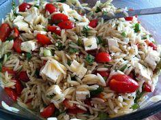 Orzo, basil, tomato, feta salad