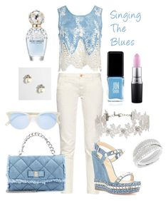 """Singing the Blues"" by laineys on Polyvore featuring Sans Souci, Earnest Sewn, Christian Louboutin, J.Crew, Salvatore Ferragamo, Miss Selfridge, Jin Soon, Swarovski, MAC Cosmetics and Marc Jacobs"