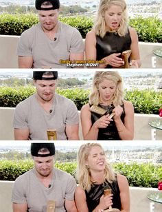 Stephen and Emily accepting their awards #Olicity #Arrow #SDCC 2015 #CWSDCC