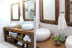 Propuestas de muebles para el baño Lo moderno y lo rústico conviven en esta mezcla que aprovecha la calidez de la madera y el diseño actual de las bachas para lograr un equilibrio natural. Foto: thespacebetweenblog.net/