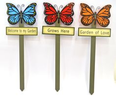 3 Decorative Wooden Butterfly Welcome To My Garden Stake Signs Blue Red Purple Red Purple, Blue, Butterfly Painting, Garden Stakes, Door Hangers, Easter Crafts, Welcome, Butterflies, Projects To Try