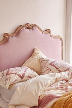Margaux Headboard - Pretty linen headboard that adds a soft touch to any sleeping space. Hang on the wall or attach to a standard metal bed frame - Created exclusively for Urban Outfitters. Pink Headboard, Velvet Headboard, Queen Headboard, Headboards, Dream Bedroom, Girls Bedroom, Bedroom Decor, Master Bedrooms, Bedroom Ideas