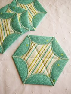 Quilted Star Coasters  set of four by QPCC on Etsy