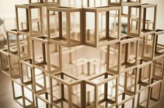 Ghostcubes: A Dazzling System of Interlocking Wooden Cubes by Erik Åberg wood geometric Invisible Cities, Wooden Cubes, Properties Of Materials, Colossal Art, Geometric Form, Wood Sculpture, Sculpture Ideas, Three Dimensional, Installation Art