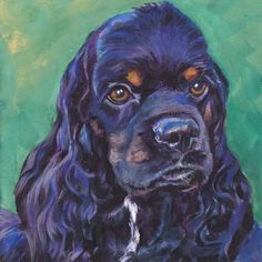 American Cocker Spaniel art print Canvas print of LA Shepard painting 8x8 dog art. $19.99, via Etsy.