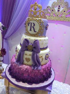 Sofia the First Birthday Party Ideas Sofia The First Birthday Cake, Princess Sofia Birthday, Twin Birthday Cakes, Rapunzel Birthday Party, 14th Birthday Party Ideas, First Birthday Party Decorations, Birthday Parties, Bolo Sofia, Sofia Cake
