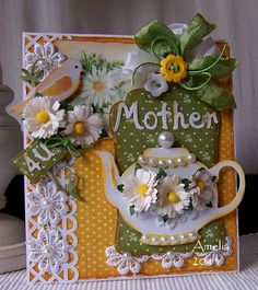 Cuttlebug Mother's day card with Victorian feel.  The lacy strip could be done with a cuttlebug die.