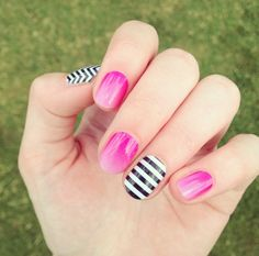 Kiss Me Ombre with Black & White Stripe and Black & White Chevron accents by Jamberry #KissMeOmbreJN #BlackWhiteStripeJN #BlackWhiteChevronJN