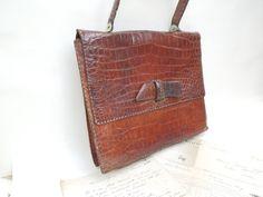 1950s Large Crocodile Skin Leather Handbag by FrenchVintage4You - 1950s Large Crocodile Skin Leather Handbag, Antique, French Vintage, Back top, Shoulder Bag, Boho, fancy, librarian, natural, collection