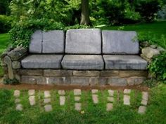 Looking for an unusual setting area for your garden? How about a Stone Garden Sofa. There is a matching chair too. Stones of varying sizes, some dirt to fill center, and your favorite cushions complete your sofa. Outdoor Projects, Garden Projects, Garden Ideas, Dream Garden, Garden Art, Patio Pergola, Patio Bench, Flagstone Patio, Stone Bench