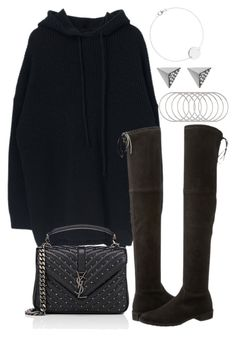 """Untitled #3648"" by theeuropeancloset on Polyvore featuring Stuart Weitzman, Yves Saint Laurent, Melissa Joy Manning and Ileana Makri"