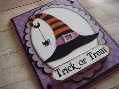 Halloween Card Witch Hat Witch Card spider by CraftyClippingsbyPeg