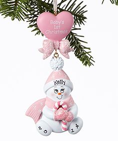 This Pink 'Baby's First Christmas' Snowman Personalized Ornament by Treasured Ornaments is perfect! #zulilyfinds