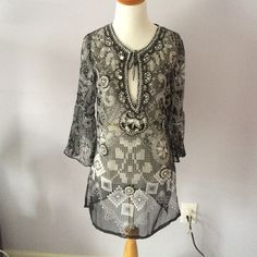 Beaded chiffon bathing suit cover up Blk and white printed and beaded chiffon swimsuit coverup. 3/4 bell sleeve. Side slit. Front keyhole neckline with tie Arden B Swim Coverups