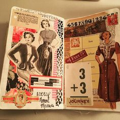 Worked in my journal the other day. It's great therapy! Book Journal, Journal Cards, Art Journals, Happy Journal, Collage Vintage, Vintage Paper, Vintage Crafts, Vintage Sewing, Collage Book