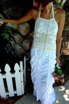 Summer/Wedding Dress, OOAK Dress, Vintage Doily and Lace, Alternative Wedding Dress, Beach Wedding Dress, Upcycled/Recycled Dress. $195.00, via Etsy.