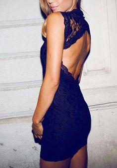Open Back Lace Dress - Black