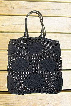 Black Crochet Shopping Bag by White Sheep, handmade with care!