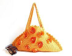 Handmade Crochet Bag Clutch Orange Circle bag Energetic by aynikki