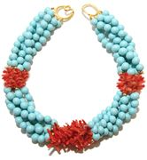 Helga Wagner Stabilized Turquoise bead Necklace with three stations Red Coral and Tiffany clasp.