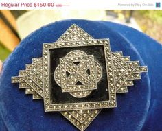 Shop Sale Victorian Sterling Marcasite Onyx Pin / by lipmeister, $135.00