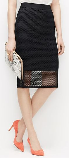 Kiss your boring black pencil skirt goodbye. Trade it in for this sophisticated mesh number. #funworklooks #workskirts #pencilskirts #chicworklooks #workoutfitideas