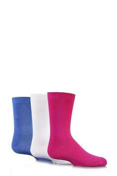 90a634211 Girls 3 Pair SockShop Plain Bamboo Socks with Handlinked Toe Seams In Pink,  White and