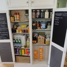 Great pantry idea Love the list on inside of the doors