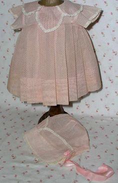"""TAGGED -1930's Effanbee 20"""" Dy-Dee Pink Organdy Dotted Swiss Dress Bonnet Slip"""