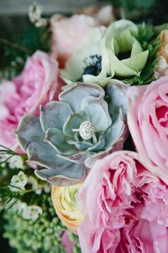 engagement ring in the bouquet // photo by Mallory Morgan Photography // http://ruffledblog.com/west-texas-cornfield-wedding