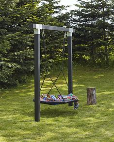 Kinderschaukel Cubic l Holzschaukel l Doppelschaukel l Nestschaukel l Schwarz - diy garden decor kids Backyard Swings, Backyard Playground, Backyard For Kids, Backyard Patio, Backyard Landscaping, Landscaping Ideas, Garden Kids, Playground Ideas, Pergola Ideas